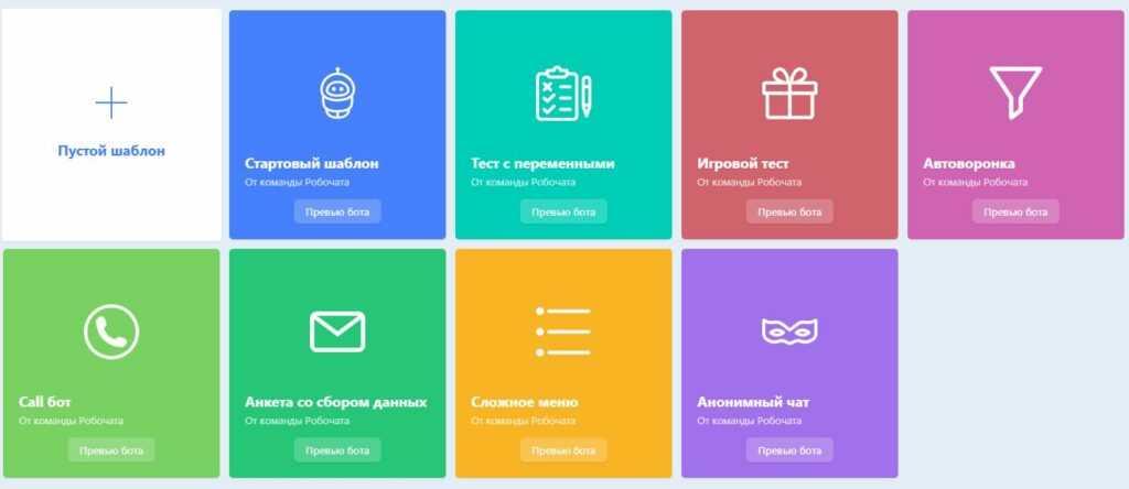 Готовые шаблоны ботов Robochat для В Контакте
