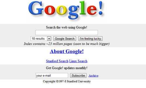 Интерфейс Гугл образца 1997 года