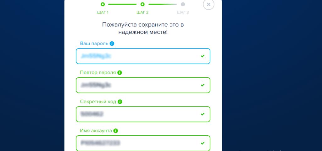 пароль, код, имя аккаунта