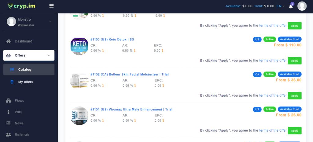 Обзор Cryp.im: 900+ офферов на Tier-1, высокие ставки и готовые связки